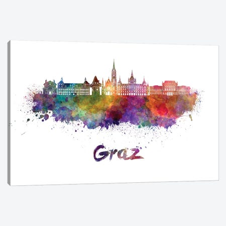 Graz Skyline In Watercolor Canvas Print #PUR301} by Paul Rommer Canvas Print