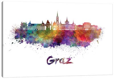 Graz Skyline In Watercolor Canvas Art Print