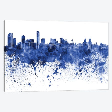 Liverpool Skyline In Blue Canvas Print #PUR3030} by Paul Rommer Canvas Wall Art