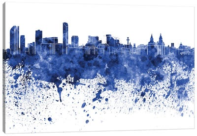 Liverpool Skyline In Blue Canvas Art Print