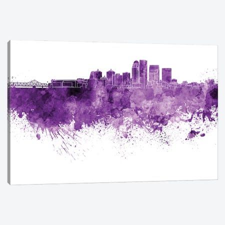 Louisville Skyline In Lilac Canvas Print #PUR3053} by Paul Rommer Canvas Artwork