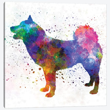 Greenland Dog In Watercolor Canvas Print #PUR305} by Paul Rommer Canvas Wall Art