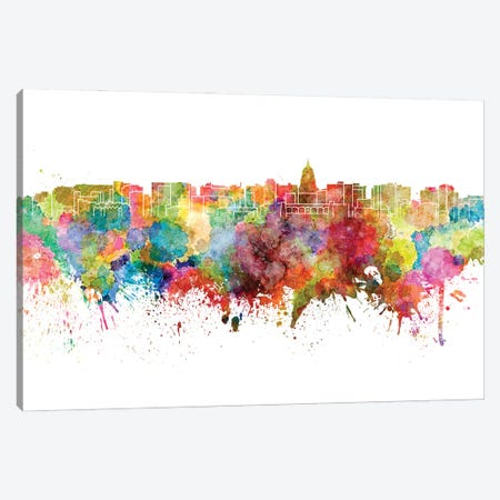 Madison Skyline In Watercolor Canvas Print #PUR3067} by Paul Rommer Canvas Art