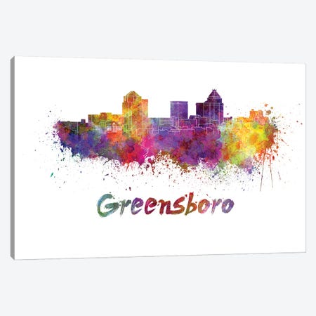 Greensboro Skyline In Watercolor Canvas Print #PUR306} by Paul Rommer Canvas Wall Art