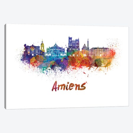 Amiens Skyline In Watercolor Canvas Print #PUR30} by Paul Rommer Art Print
