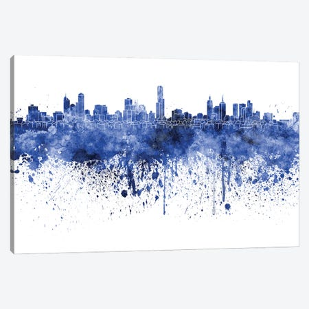 Melbourne Skyline In Watercolor Blue Canvas Print #PUR3100} by Paul Rommer Canvas Wall Art