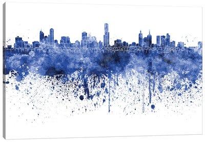 Melbourne Skyline In Watercolor Blue Canvas Art Print