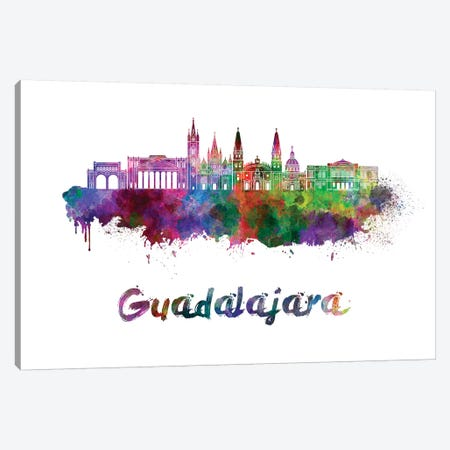 Guadalajara Mx Skyline In Watercolor Canvas Print #PUR310} by Paul Rommer Canvas Art