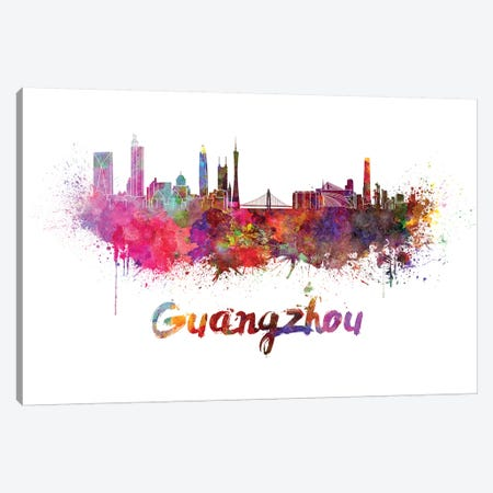 Guangzhou Skyline In Watercolor Canvas Print #PUR311} by Paul Rommer Canvas Artwork
