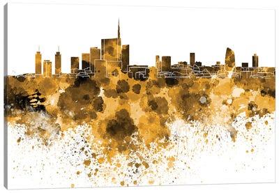 Milan Skyline In Yellow Canvas Art Print