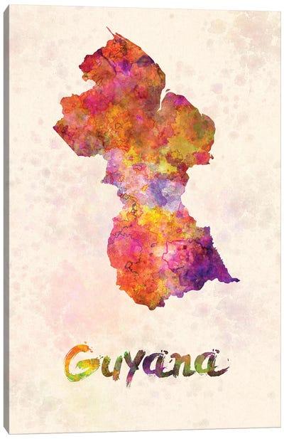 Guyana In Watercolor Canvas Art Print