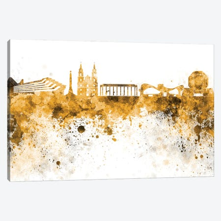 Minsk Skyline In Yellow Canvas Print #PUR3134} by Paul Rommer Canvas Artwork