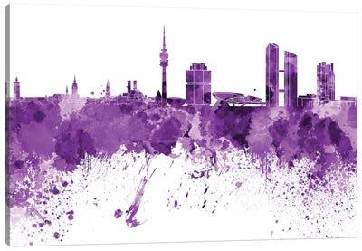 Munich Skyline In Lilac Canvas Art Print