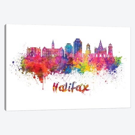 Halifax Skyline In Watercolor II Canvas Print #PUR316} by Paul Rommer Canvas Art Print