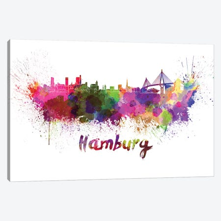 Hamburg Skyline In Watercolor Canvas Print #PUR317} by Paul Rommer Canvas Print