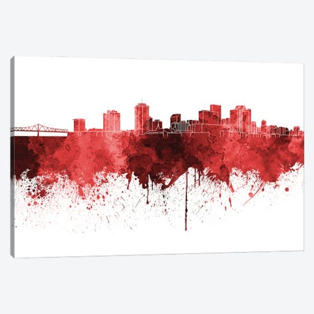 New Orleans Skyline In Red V-II Canvas Print #PUR3183} by Paul Rommer Canvas Art