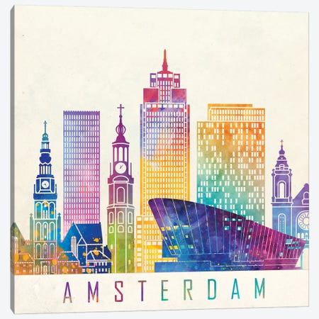 Amsterdam Landmarks Watercolor Poster Canvas Print #PUR31} by Paul Rommer Canvas Art Print
