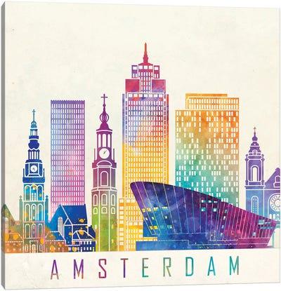 Amsterdam Landmarks Watercolor Poster Canvas Art Print