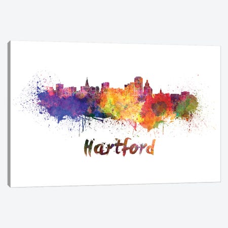 Hartford Skyline In Watercolor Canvas Print #PUR322} by Paul Rommer Canvas Print