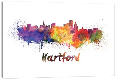 Hartford Skyline In Watercolor Canvas Art Print