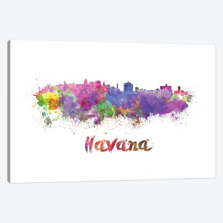 Havana Skyline In Watercolor Canvas Print #PUR323} by Paul Rommer Art Print