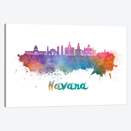 Havana Skyline In Watercolor II Canvas Print #PUR324} by Paul Rommer Canvas Wall Art