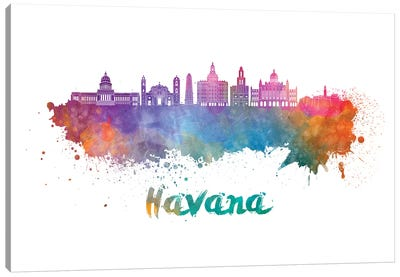 Havana Skyline In Watercolor II Canvas Art Print