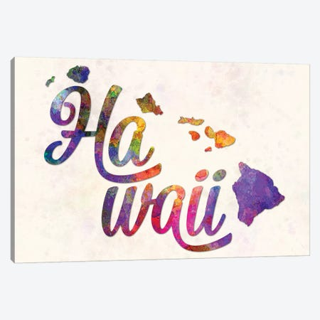 Hawaii US State In Watercolor Text Cut Out Canvas Print #PUR327} by Paul Rommer Canvas Art