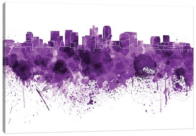 Phoenix Skyline In Lilac Canvas Art Print