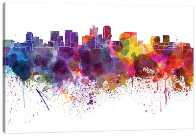 Phoenix Skyline In Watercolor V-II Canvas Art Print