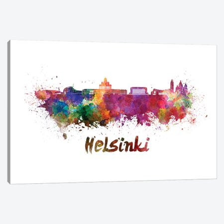 Helsinki Skyline In Watercolor Canvas Print #PUR329} by Paul Rommer Canvas Art Print