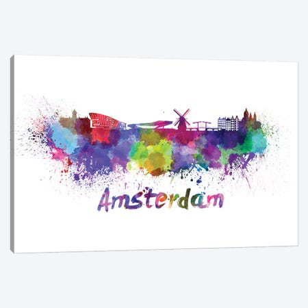 Amsterdam Skyline In Watercolor Canvas Print #PUR32} by Paul Rommer Art Print