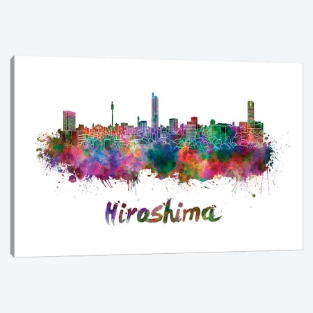 Hiroshima Skyline In Watercolor Canvas Print #PUR330} by Paul Rommer Canvas Art