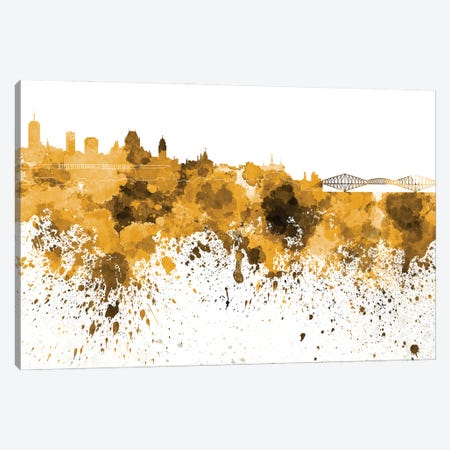 Quebec Skyline In Yellow Canvas Print #PUR3310} by Paul Rommer Canvas Print