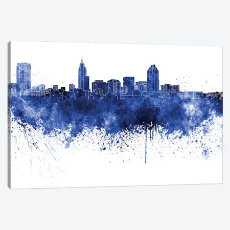 Raleigh Skyline In Blue Canvas Print #PUR3312} by Paul Rommer Art Print
