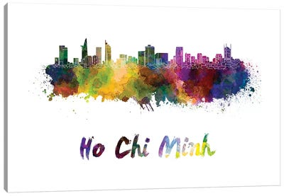 Ho Chi Minh Skyline In Watercolor Canvas Art Print