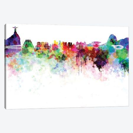 Rio De Janeiro Skyline In Watercolor Canvas Print #PUR3343} by Paul Rommer Canvas Artwork
