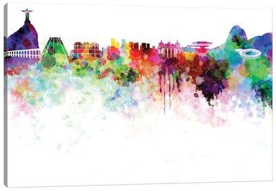 Rio De Janeiro Skyline In Watercolor Canvas Art Print