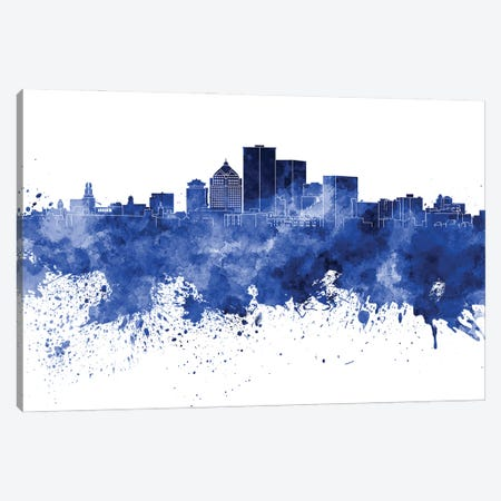 Rochester NY Skyline In Blue Canvas Print #PUR3352} by Paul Rommer Art Print