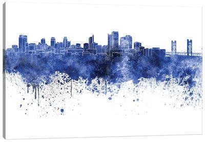 Sacramento Skyline In Blue Canvas Art Print