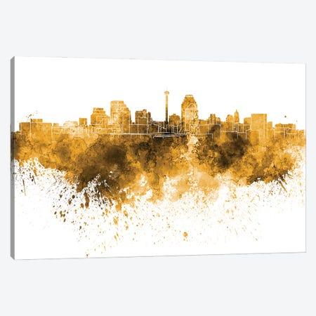 San Antonio Skyline In Orange Canvas Print #PUR3382} by Paul Rommer Canvas Artwork