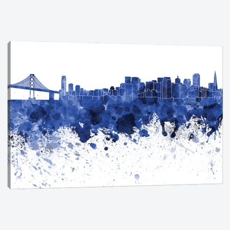 San Francisco Skyline In Blue Canvas Print #PUR3388} by Paul Rommer Canvas Wall Art