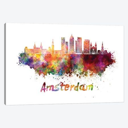 Amsterdam Skyline In Watercolor II Canvas Print #PUR33} by Paul Rommer Art Print