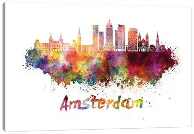 Amsterdam Skyline In Watercolor II Canvas Art Print