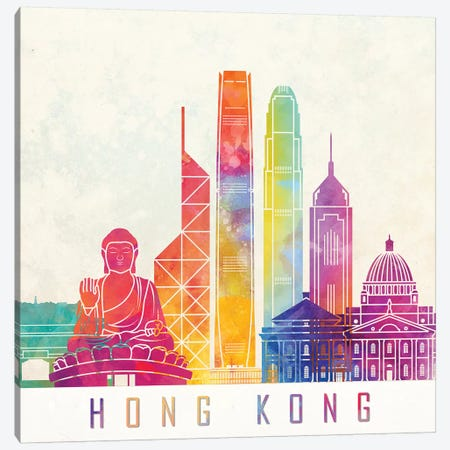 Hong Kong Landmarks Watercolor Poster Canvas Print #PUR340} by Paul Rommer Canvas Art Print