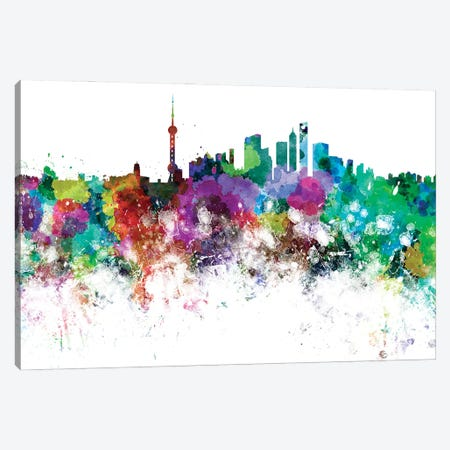 Shanghai Skyline In Watercolor Canvas Print #PUR3410} by Paul Rommer Canvas Art