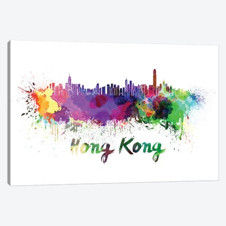 Hong Kong Skyline In Watercolor Canvas Print #PUR341} by Paul Rommer Canvas Art Print