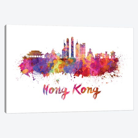 Hong Kong Skyline In Watercolor II Canvas Print #PUR342} by Paul Rommer Canvas Art Print