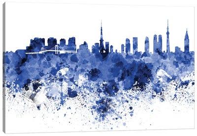 Tokyo Skyline In Blue Canvas Art Print