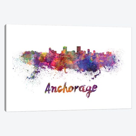 Anchorage Skyline In Watercolor Canvas Print #PUR34} by Paul Rommer Canvas Wall Art
